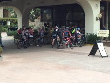 Staging for PressCamp Winter's mid-day road ride in front of the Westlake Village Inn