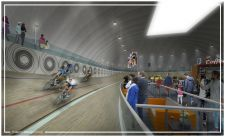 A rendering of the indoor velodrome.