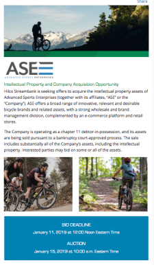 ASE's IP assets are being marketed by Hilco Streambank.