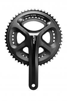 The new 105 crankset borrows the four-bolt chainring design.