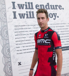 Team BMC's Taylor Phinney with the pact.