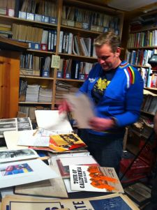 Woehl in the library of American Cyclery's original store.
