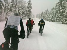 Fat bikers hit the trail. Photo courtesy of the Fat Bike Winter Summit and Festival