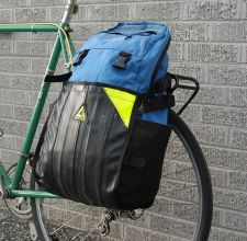 A Green Guru pannier/backpack made partially of recycled tubes.