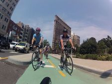 Riders on a New York City green lane last summer.