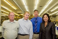(Left to right): Princeton Tec founder Bill Stephens; grandson, William Stephens; company president, Hal Stephens and Labor Secretary Hilda Solis