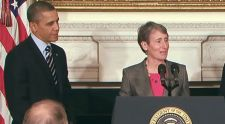 President Obama and Jewell at her nomination announcement.