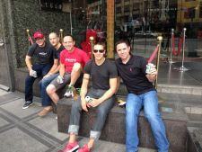 SRAM's OE sales team sit on the front steps of the Tempus Hotel Monday afternoon sharing a six-pack of Taiwan's finest--Taiwan Beer.  Photo: Marc Sani