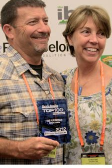 Dan and Christine Thornton from Top 100 Dealer Free-Flite Bicycles at the Top 100 Awards in Las Vegas last week.
