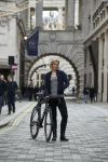 Cromwell with a Canyon bike at a team presentation in London on Friday.