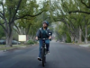 Don't blink! A rider in an H&R Block ad.