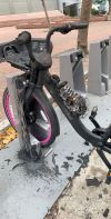 This Lyft e-bike caught fire Saturday. Photo courtesy Zach Rutta.