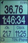 Photo shows RFLKT display of Cyclemeter app